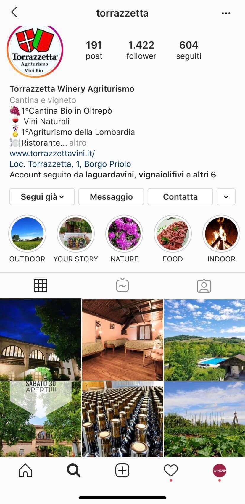 Profilo Instagram Cantina e Agriturismo Torrazzetta