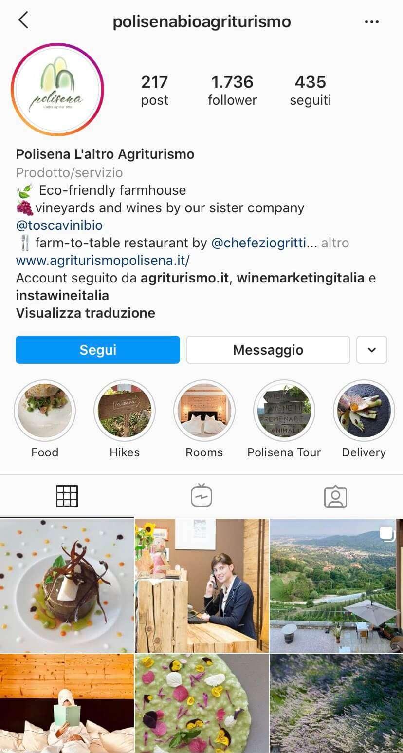 posizioniamento cantina e agriturismo Instagram